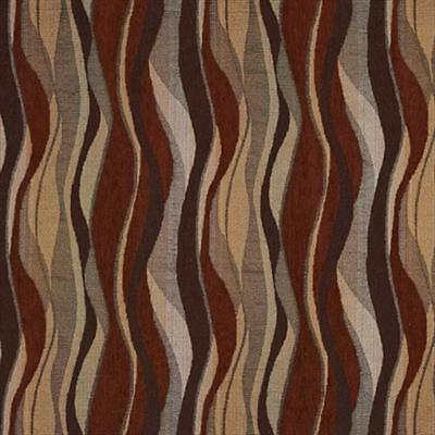 Designer Fabrics 54 in. Red Gold And Grey Abstract Striped Chenille Fabric