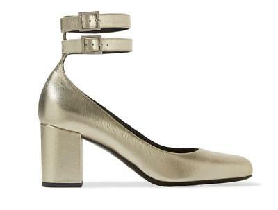 f5fada91d53 SAINT LAURENT double-strap BABIES leather pumps shoes 39 9 METALLIC GOLD NIB