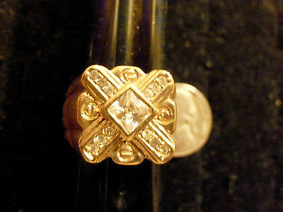 bling gold plated x design cubic stone men`s FASHION ring hip hop JEWELRY sz 11