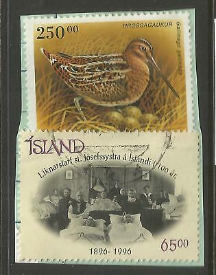 ICELAND 1995/96  TWO STAMPS ON A PIECE, SCOTT 834 & 855, USED (o)