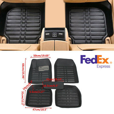 5Pcs Front & Rear Liner Black PU Leather Floor Mats Waterproof For 5-Seats Car