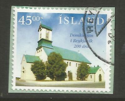 ICELAND 1996 200th ANNIV REYKJAVIC CATHEDERAL ON A PIECE, SCOTT 862, USED (o)