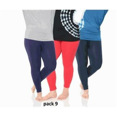 White Mark Universal Womens Plus Legging Purple Red & Navy, One Size, Pack of 3