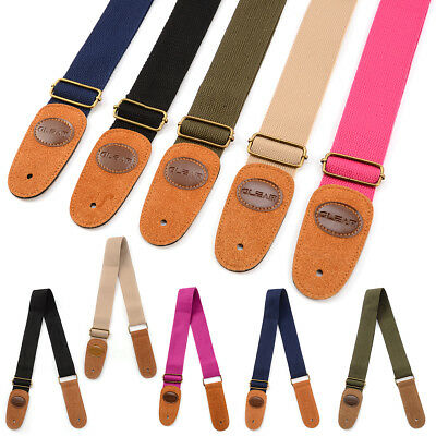 Cotton Guitar Strap Electric Acoustic Bass Electro Webbing Leather Ends Colors