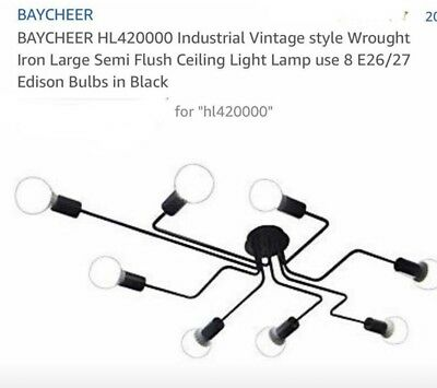 BAYCHEER HL420000 Industrial Vintage style Wrought Iron Large Semi Flush...