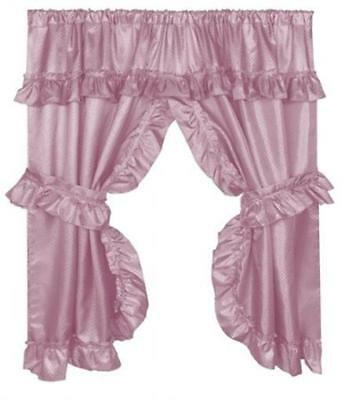 Carnation Home Fashions 70x45in. Lauren Window Curtain with Ruffled Valance Rose
