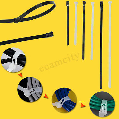 100Pcs Nylon Plastic Releasable Reusable Cable Tie Zip Wraps Ratchet Ties Wire