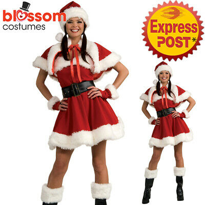F33 Deluxe Mrs Santa Claus Christmas Fancy Dress Costume Xmas Party Outfit & Hat