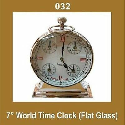 7 '' WeltStempeluhr Nautical Watch Quartz Flat Glass römische Zahl Messingkörper