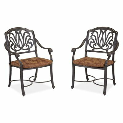 Home Styles Floral Blossom Dining Chairs with Cushion - Set of 2, Charcoal, 2