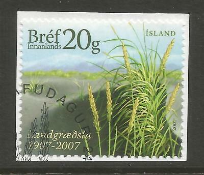 ICELAND 2007 100th ANNIV OF SOIL CONSERVATION ON A PIECE, SCOTT 1164, USED (o)