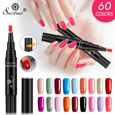 Saviland One Step Gel Lacquer Painting Varnish Pen 3In1 Nail Gel Polish 60Colors