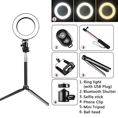 """8"""" LED SMD Ring Light 5W  3200-5500K Dimmable For Camera Youtube Video Make-up"""