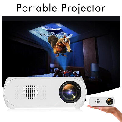 7000 Lumens LED HD 1080p Mini Projector Multi-media Home Cinema Theater HDMI USB