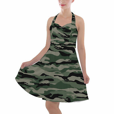 Military Camouflage Halter Vintage Style Dress