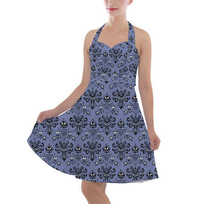 Haunted Mansion Wallpaper Halter Vintage Style Dress