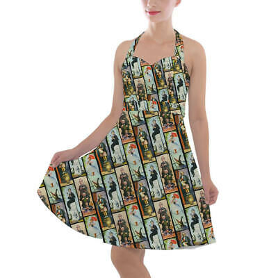 Haunted Mansion Stretch Paintings Halter Vintage Style Dress