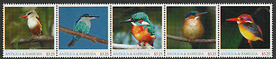 Antigua & Barbuda 8003 - UNISSUED BIRDS - KINGFISHERS  strip of 5 unmounted mint