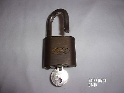 Vintage Ford Motor Co. Brass Padlock With 1 Ford Key Original