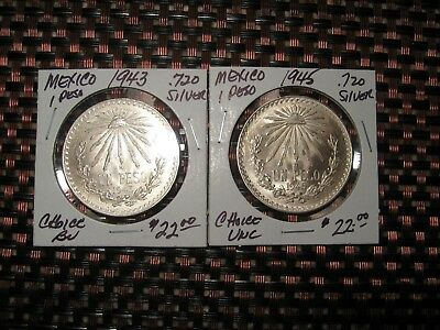 Mexico 1943 & 1945 1 Peso .720 Silver Nice Frosty Choice Uncirculated 2 Coins
