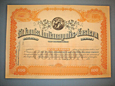 189_ ST. LOUIS, INDIANAPOLIS and EASTERN RAILROAD CO. Unissued STOCK CERTIFICATE