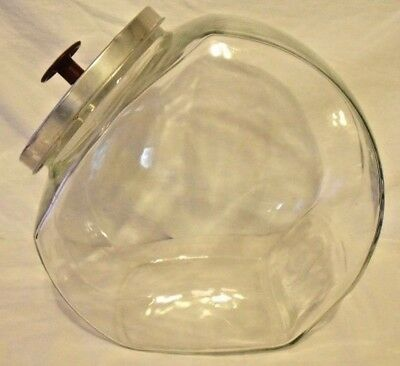 Vintage Antique General Store Counter Large Display  Glass Jar W/ Metal Lid