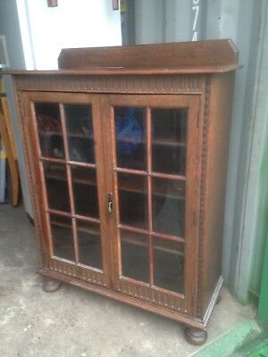 2 Door Solid Oak Vintage Antique Bookcase - Dark Brown