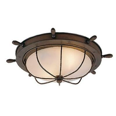 Vaxcel International Nautical 15 in. Outdoor Ceiling Light - Antique Red Copper
