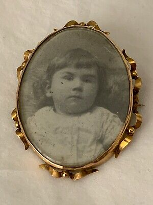 Large Antique Edwardian 9Ct Gold Double Sided Photo Locket Brooch