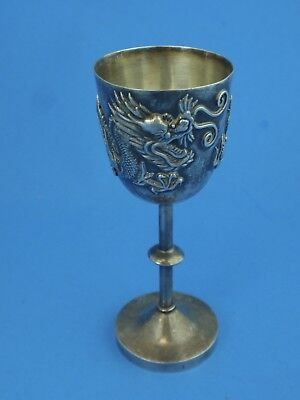 Chinese Export Silver High Relief Dragon Cordial Hallmarked