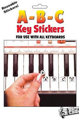 ABC Keyboard Stickers Learning How To Play The Piano Learn The Keys Reusable