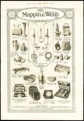 1916 - Antique Print ADVERTISING Mappin Webb Cruet Jewellery Clocks (062)