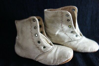 Victorian Baby Shoes- Cream Kidskin, High Top Style- ADORABLE  -NEW SALE PRICE