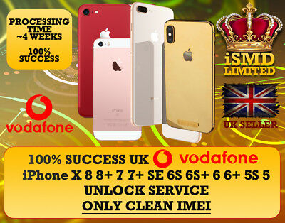 Uk England Vodafone Unlock Service For Iphone X 8 8+ 7 7+ Se 6S 6S+ 6 Unlocking