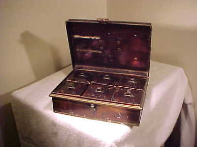 RARE Antique 1890s Kreamer Tin Spice Box , ORIGINAL FINISH, SQUARE CANNISTERS
