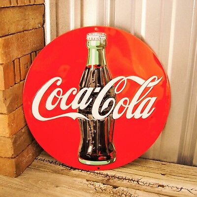 "Coke Coca-Cola Red Disc Bottle Soda Pop Garage Metal Tin Sign Vintage 14"" New"