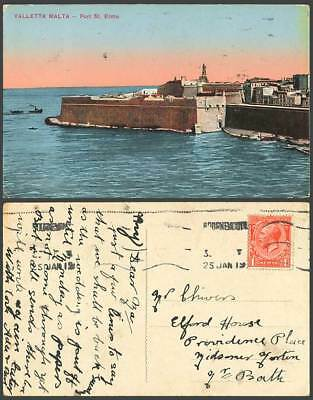Malta KG 1919 Old Maltese Postcard VALLETTA FORT ST. ELMO Fortress Boats Harbour