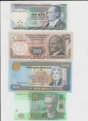 World collectiona of 8 uncirculated Banknotes