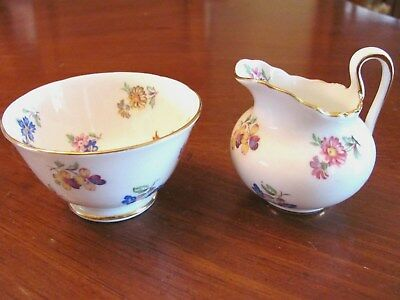 Vintage 'royal Chelsea' English Bone China Floral Small Open Sugar & Creamer Exc