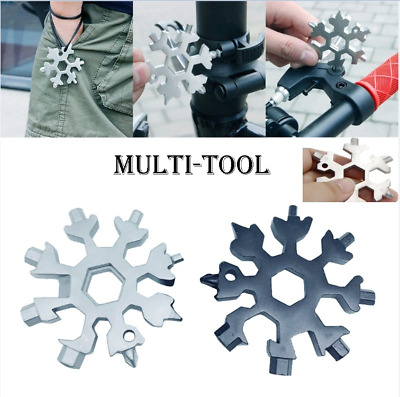 Multi-tool 18-in-1 Card Combination Compact Portable Outdoor Snowflake Tool Card