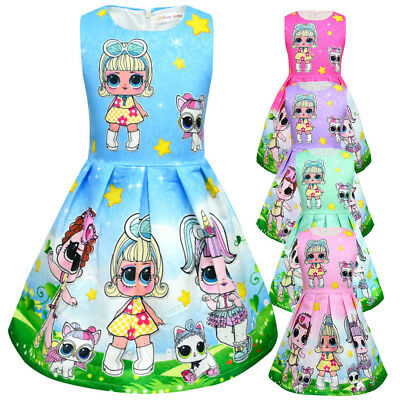 LoL Surprise Dolls Girls Dress Sleeveless Princess Dress Kids Party Dress 2-10Y