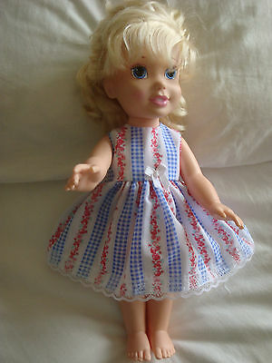 """Dolls clothes made to fit 14"""" Disney Toddler  doll ~ Dress ~ blue check / roses"""