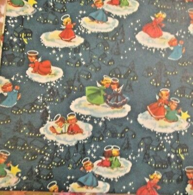 VTG UNUSED CHRISTMAS GIFT WRAPPING Aqua Scenic PAPER MCM Angels on Clouds