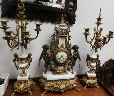 large imperial striking ting tang clock garniture