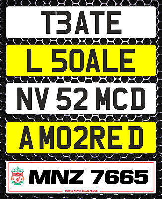 Collectible Show Custom Number Plate Not Road Or MOT Compliant Logo Digit Edits