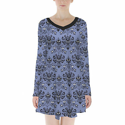 Haunted Mansion Wallpaper Velvet Longsleeve Dress