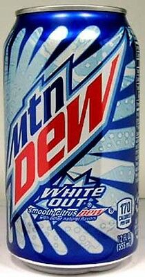 FULL NEW 12oz American Pepsi Mountain Dew White Out Limited Edition USA (2011)