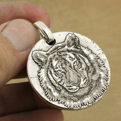 999 Sterling Silver Tiger King Sharp Claws Deep Engraved Biker Pendant 9X040A JP