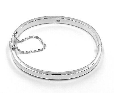 925 Sterling Silver Child Baby Christening Opening Oval Shaped Bangle Bracelet