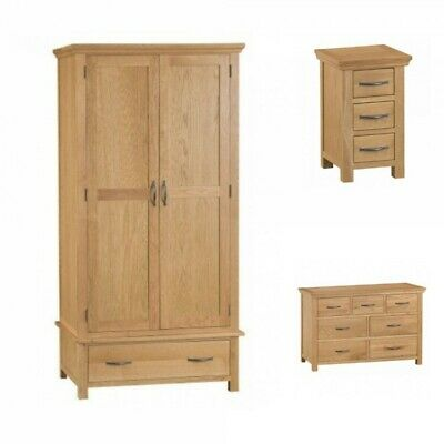 Stirling Oak Furniture Bedroom Set Double Wardrobe Narrow Bedside Table & Chest